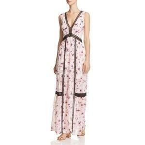 Aqua Floral V-Neck Maxi Dress Large Pink Black